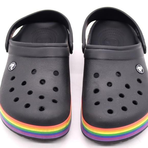 CROCS Shoes | Crocs Rainbow Black Clogs